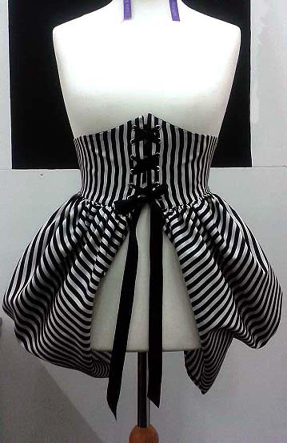 Black and White Stripe Waspie Bustle Skirt - Gothic Lolita Steampunk Victorian Burlesque