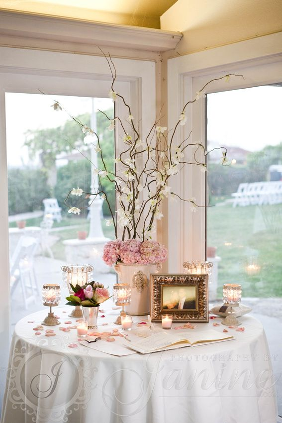 Sign in table -  like the colors and sign in book placement  Wedding -   Flowers by Kristen MacNaughton - Houston Wedding Florist
