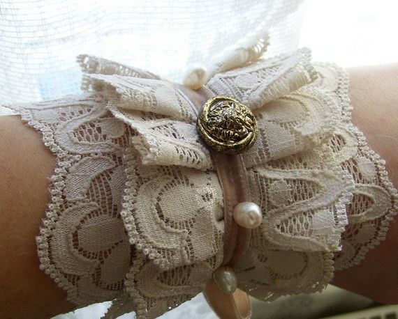 cuff victorian lace steampunk fresh water pearls by radusport