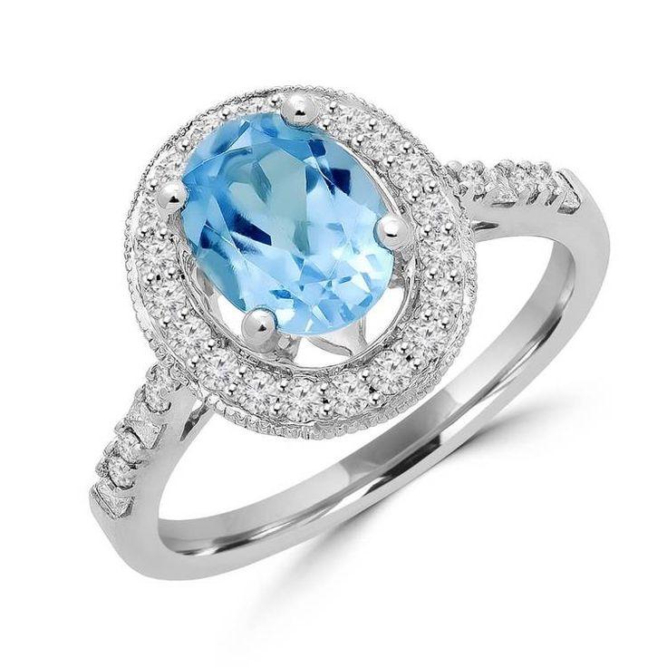 Allurez 14kt White Gold Oval Blue Topaz And Diamond Fashion Ring - UK I 1/2 - US 4 1/2 - EU 48 1/2 cbqF3Qeb08