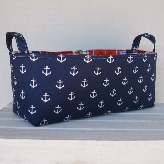 Long Diaper Caddy  Storage Container Basket Fabric by BaffinBags, $35.00