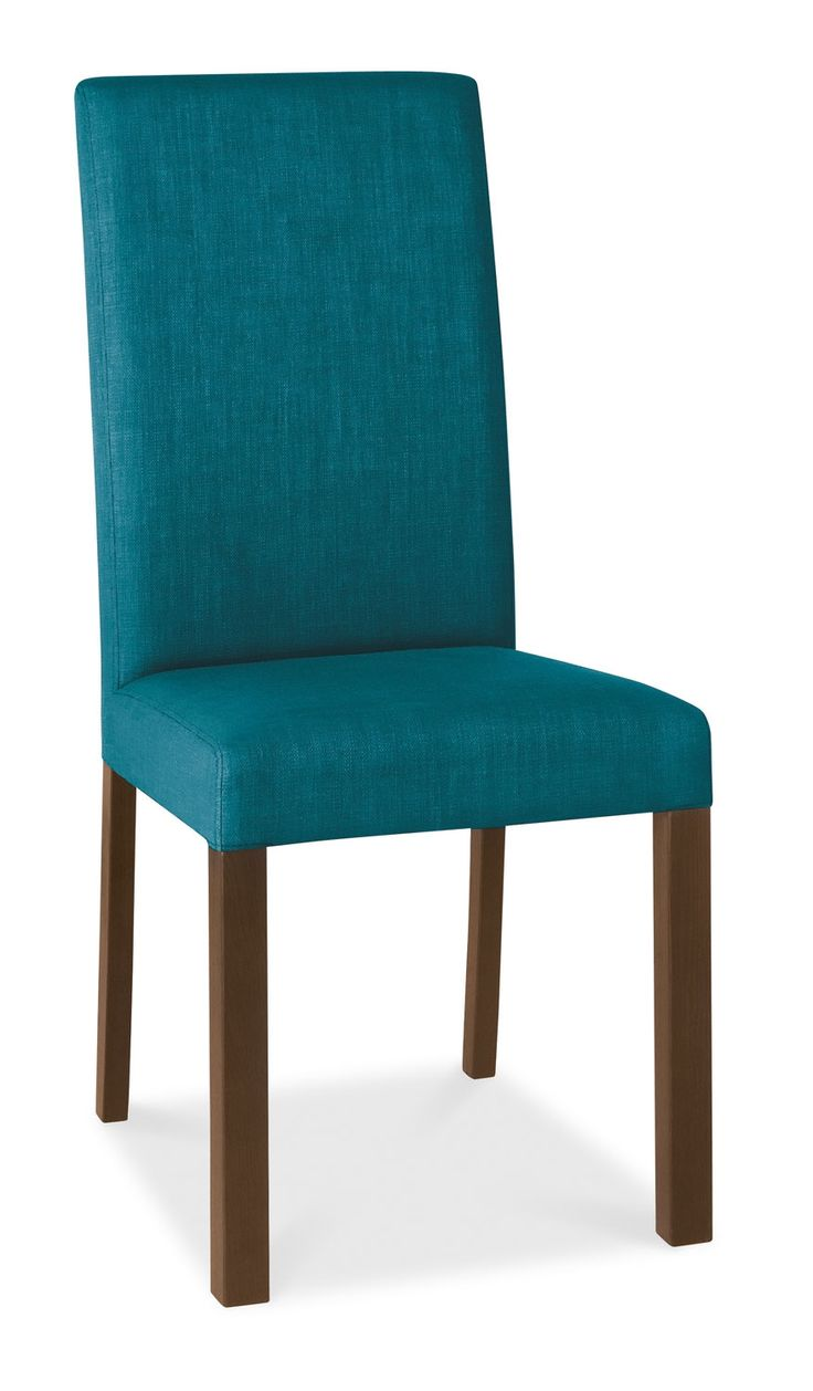 Parker Walnut & Teal Fabric Square Back Dining Chairs - Pair