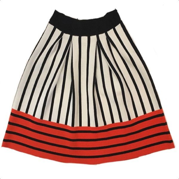 Knitss Garnet Multi Colour A Line Skirt ($255) ❤ liked on Polyvore featuring skirts, orange striped skirt, orange skirts, striped skirts, multi colored skirt and multi color skirt