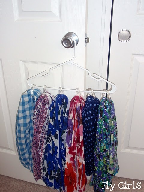 DIY scarf organizer on hanger
