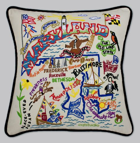 Product Description This original design celebrates the State of Maryland from Camp David to the Cheaspeake Bay to Ocean City (and Thrasher's Fries of course)! This Pillow is entirely hand embroidered