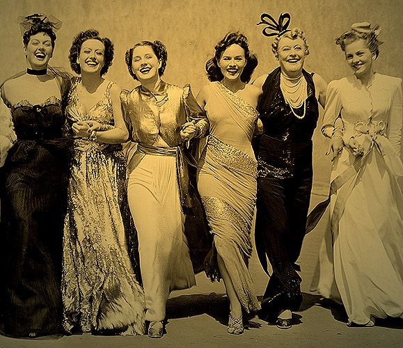 Principal cast of the 1939 film classic THE WOMEN   left to right: Rosalind Russell, Joan Crawford, Norma Shearer, Paulette Goddard, Mary Boland and Joan Fontaine.