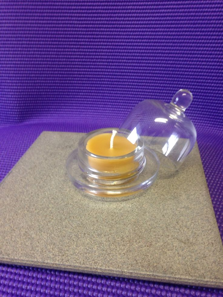 Beeswax candle in butter dish available from our Amazon store