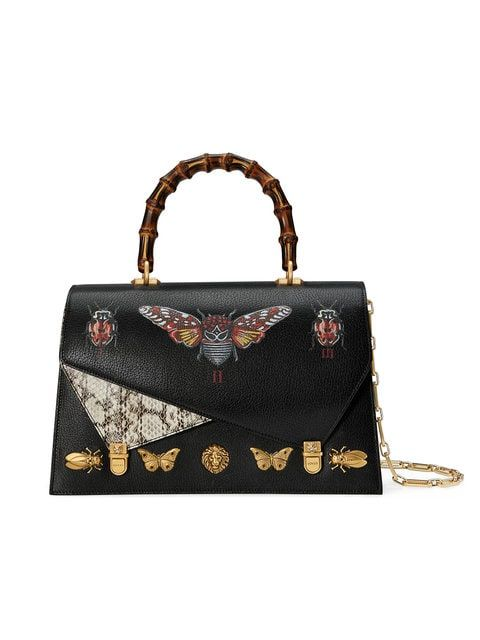 bcccb57ef7fb GUCCI   Ottilia Leather Top Handle Bag   $5,667   Printed insects-beetles,  moths, ladybugs and butterflies-are organized and numbered as they would  appear ...