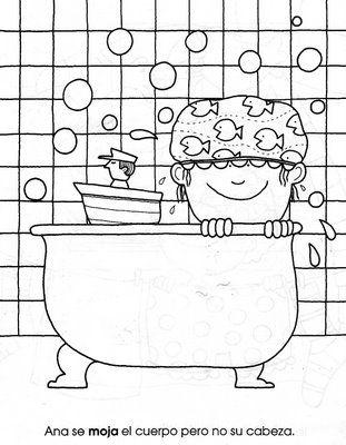 Lekker in bad kleurplaat