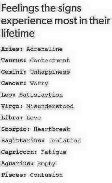 Feelings the signs experience most in their life. | Zodiac