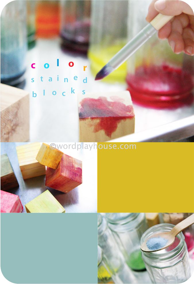 Make color stained blocks—with natural watercolor wood stains! Many watercolor project ideas for children.