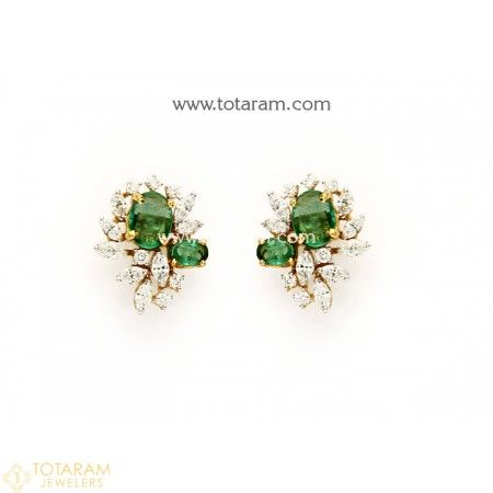 18k Gold Diamond Earrings With Emeralds 235 Der1128 This Latest Indian