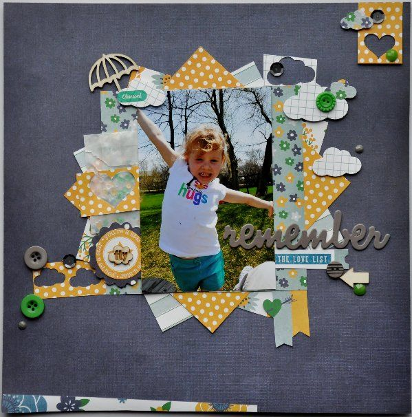 #papercraft #scrapbook #layout  Clique Kits. Triangles create an outward burst from pic. Lh