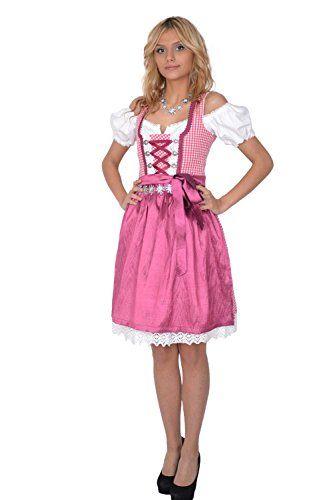 #Dirndl #Set #3tlg #Trachtenkleid #301gt #Pink #karriert #34 Dirndl Set 3tlg…