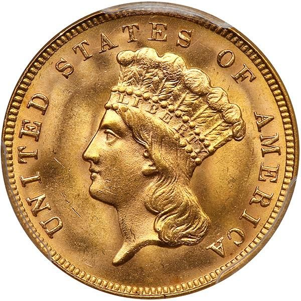 1888 The 1888 gold three dollar has a business strike mintage of just 5,000 pieces, 291 proofs were also coined in this penultimate year for this denomination. It is genuinely scarce in all grades, even despite the fact that an unknown number of coins were saved by contemporary collectors at the time. This is one of the nicest examples we have seen, a coin characterized by billowy mint luster and soft yellow-golden color. Sharply defined, with no distracting abrasions or other blemishes in…