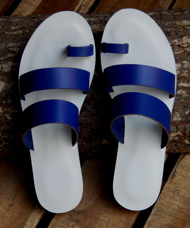 Handmade leather sandal ANDROMACHE ......new blue entry ......