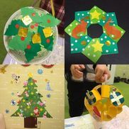 【クリスマス制作】*紙皿リース(2歳児制作)*みんなで壁面制作*手持ちリース(3歳児制作)【材料】☆紙皿リース☆紙皿のり 又は両面テープ(月齢によって変えてます)折り紙クーピー、色えんぴつ、カラーペン(月齢によって変えてます)ひいらぎパーツ(折り紙)丸シール☆みんなで壁面制作☆折り紙丸シールのり折り紙で制作したものツリー部分はあえて白い画用紙に緑、黄緑、深緑で全面塗った物をカラーコピーして繋げてあります。(単色の色画用紙より暖かみが増すきがします٩(Ü*)۶)*手持ちリース色画用紙折り紙ストローのり両面テープ