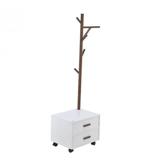 WOODEN COAT HANGER W_DRAWERS IN WHITE COLOR 45X35X150