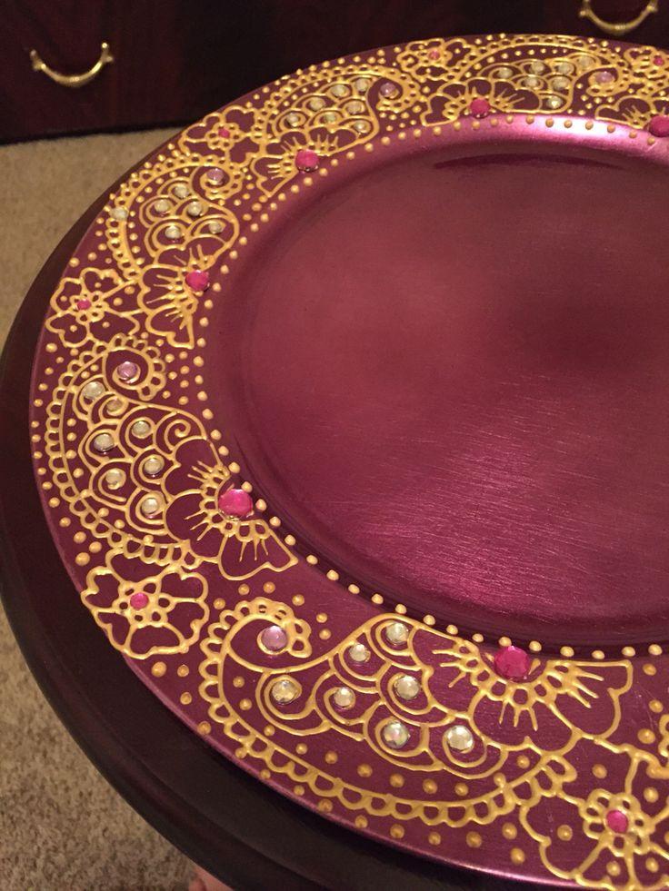 Diy Mehndi Plates : Charger plate henna https etsy listing