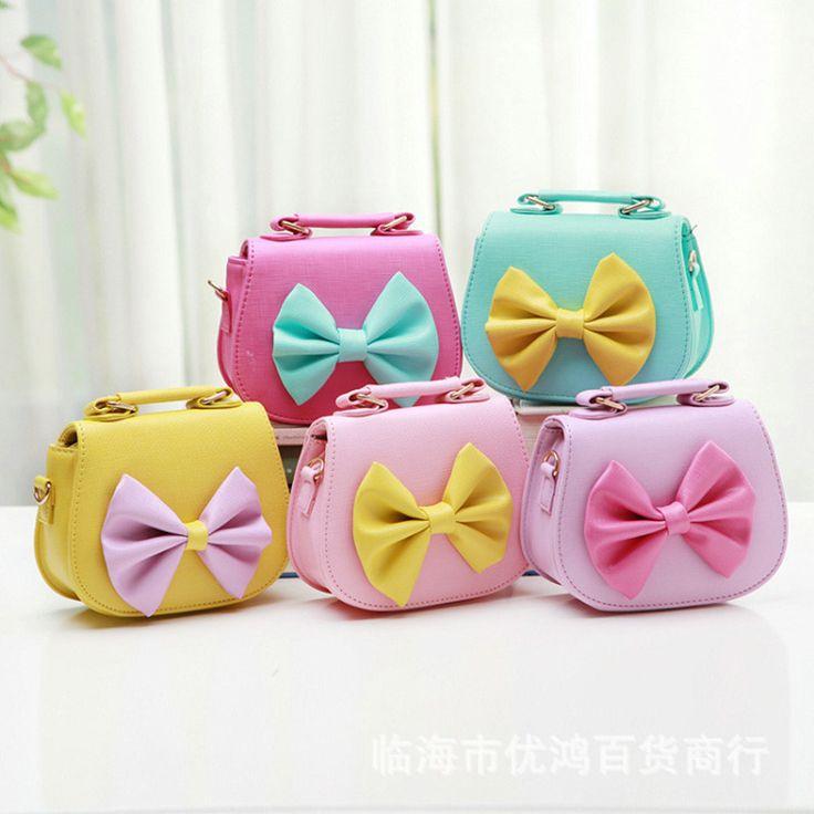 Moda de Nova Bow Padrão Colorido Dos Doces cor doce menina bonita grande arco Saco de Mão Saco Mochila saco de crianças por atacado(China (Mainland))