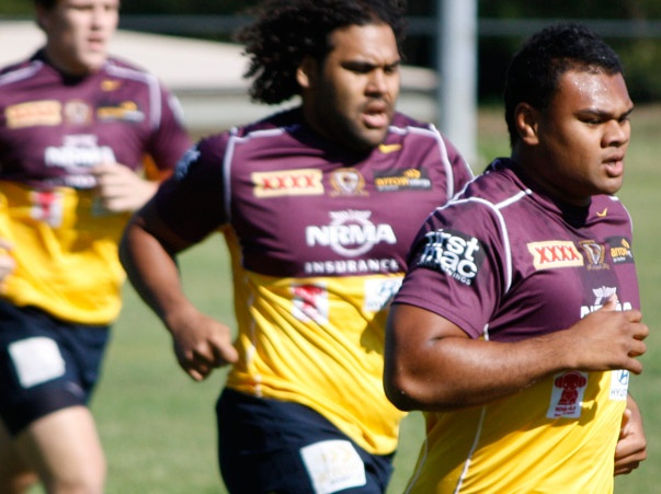 Dunamis Lui & Sam Thaiday striding out at Training first day back. 05/11/12.