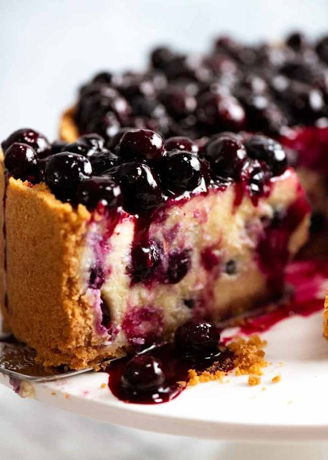 Blueberry Cheesecake Recipe In 2020 Blueberry Cheesecake Recipetin Eats Recipe Tin