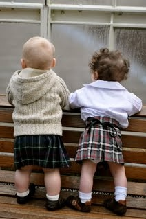 Too young to be kilted technicians, but they have the uniform down pat!