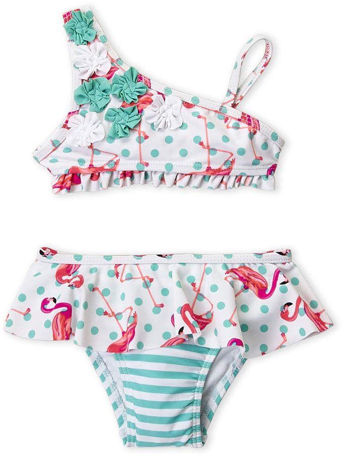 Flapdoodles Infant Girls) Two Piece One Shoulder Flamingo