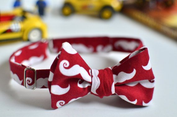 Moustache bow tie Red bow tie for boys Adjustable bow tie