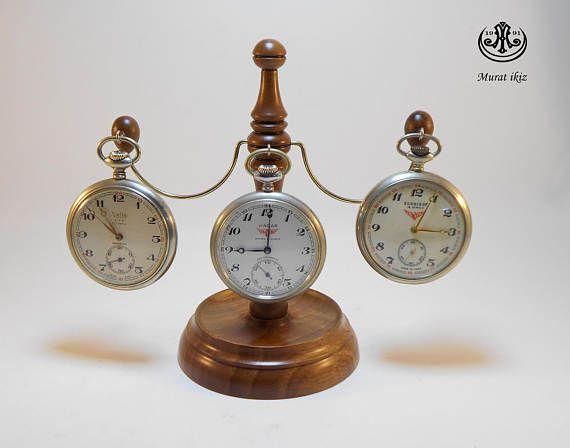 Wooden Three Pocket Watch Stand & Holder 4 Turkish quality
