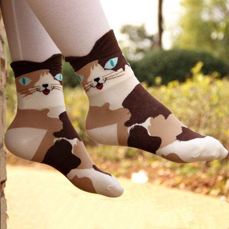 1 짝 여성 3d 동물 cat 발자국 스트라이프 만화 양말 여성 겨울 가을 따뜻한 바닥 길이 양말 레이디 여자