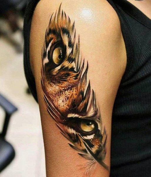 70 Feder Tattoo Designs für Männer – Maskulin Tinte Ideen