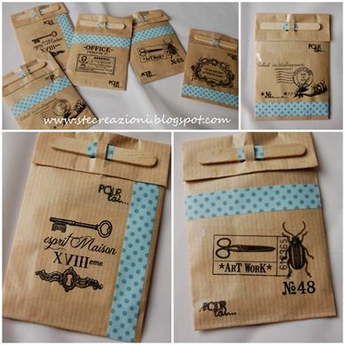 Hand-stamped gift bags decorated with scrapbooking paper or washi tape - I love how they are closed with mini craft sticks - what a good idea
