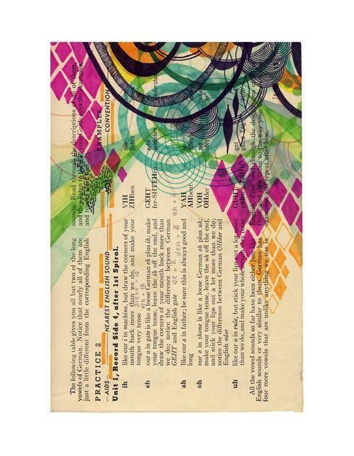 Original drawing on vintage paper by Jaime Derringer  A celebration in color and line   rowenamurillo