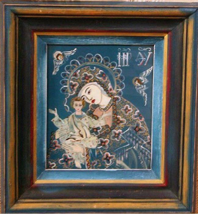 Maica cu pruncul, icoana pe sticla cu rama prelucrata manual, emulsie, 26x30 cm