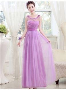 Zipper-up Summer Natural Purple Sleeveless All Sizes Scoop A-line Dress