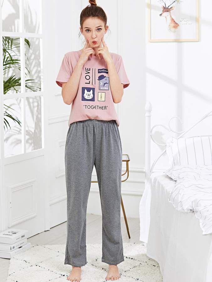 4f20c3d8b1 Shein Cartoon & Letter Print Pajama Set #Letter#Cartoon#Shein ...