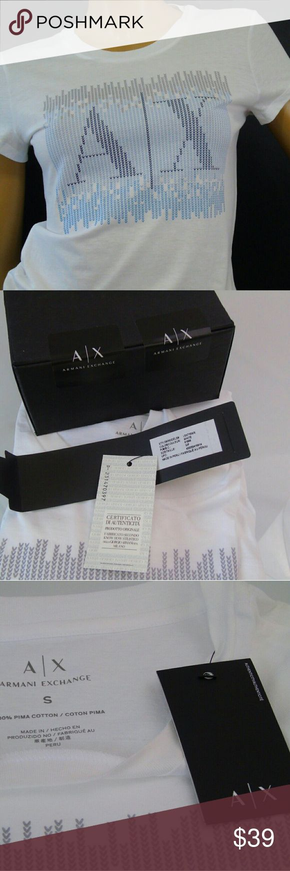 Armani Exchange Shimmering Front Logo Top NWT ARMANI EXCHANGE Shimmery Front Logo White Top Tee NWT & Gift Box   Label: Armani Exchange,  Style: L5X715WR , Color : White ,  Size : S , Material : 100% Pima Cotton,  Details: Front Logo , Slightly Shimmery , New With Tags & Box Tops Tees - Short Sleeve
