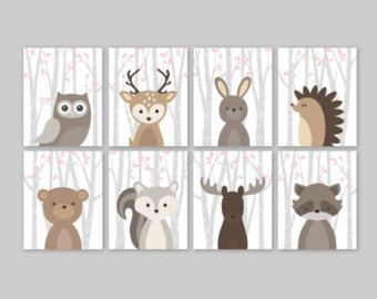 Forest Animals Birch Branches Animal Nursery Art by YassisPlace