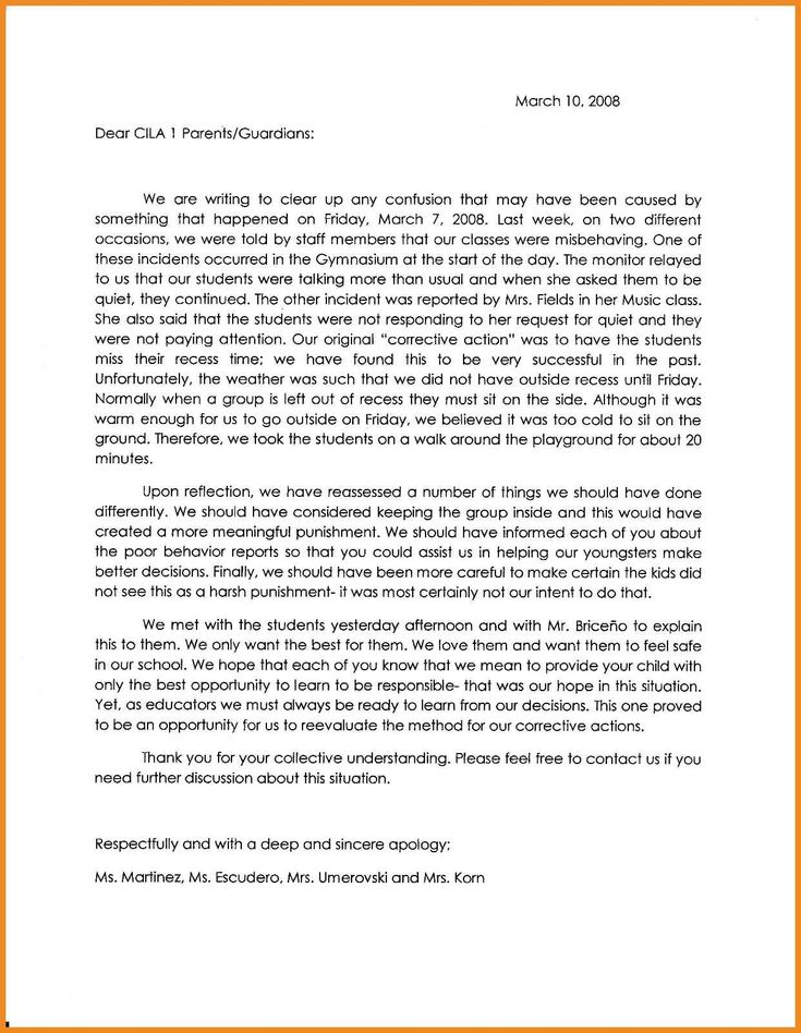 Sample apology letter to send to teachers help express the right - business apology letter for mistake