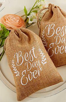 Best Day Ever, burlap favor bags! Style Your Soirée - Shop Favors!