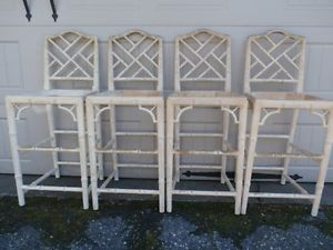 Vintage Hollywood Regency Chippendale Faux Bamboo Bar Stool Chair set of 4