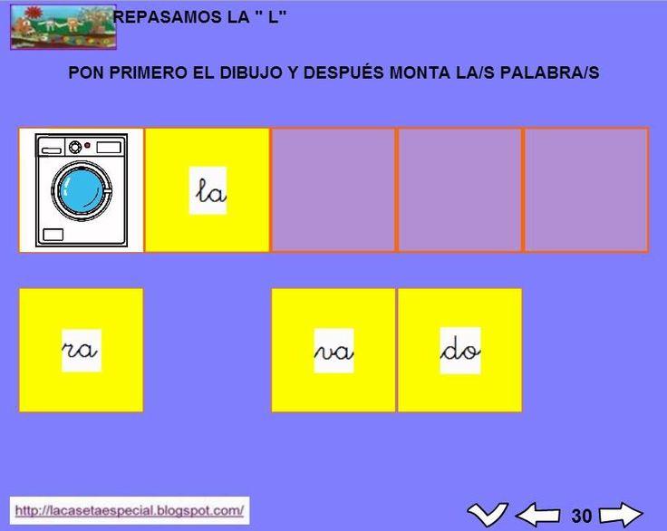 MATERIALES - Juegos LIM de lectoescritura: l  Se trata de juegos hechos con el editor de actividades EdiLim para trabajar la lectoescritura de manera divertida. Cada juego trabaja una letra y encontraremos actividades como: unir imagen con palabra, juego de memoria, ordenar sílabas y ordenar palabras para formar frases.  Descomprimid la carpeta JOC_EDILIM_L.zip y pulsad dos veces sobre el archivo repasamos_la_l.html.  http://arasaac.org/materiales.php?id_material=1199