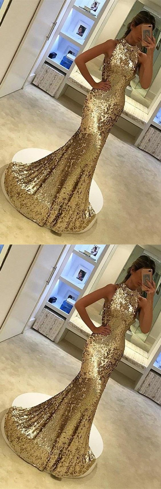 luxury halter prom dress with gold sequins, bodycon