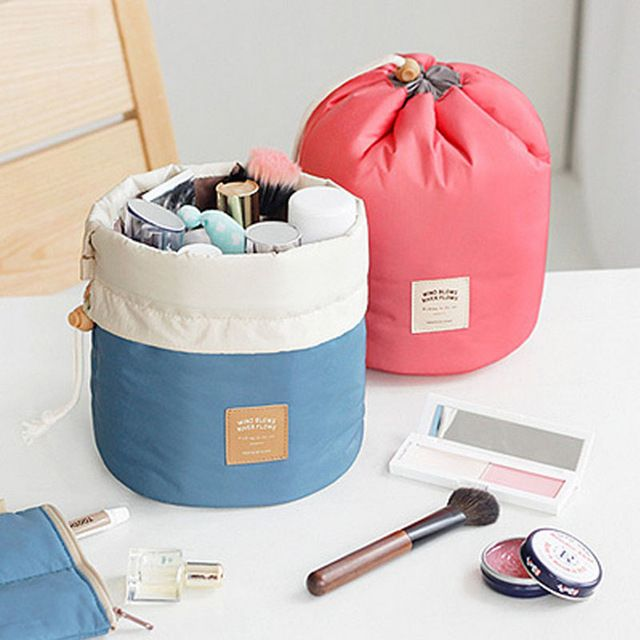 Barrel Shaped Travel Cosmetic Bag Nylon Wash Bags Makeup Organizer Storage Travel Bag High Capacity Drawstring Elegant Drum