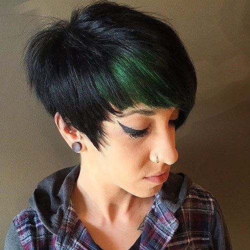 Black Pixie With Green Peekaboo Highlights