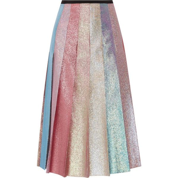 Gucci Pleated lamé midi skirt (81,835 INR) ❤ liked on Polyvore featuring skirts, bottoms, gucci, pastel pink, a line midi skirt, gucci skirt, pastel skirt, pleated skirt and colorful midi skirts