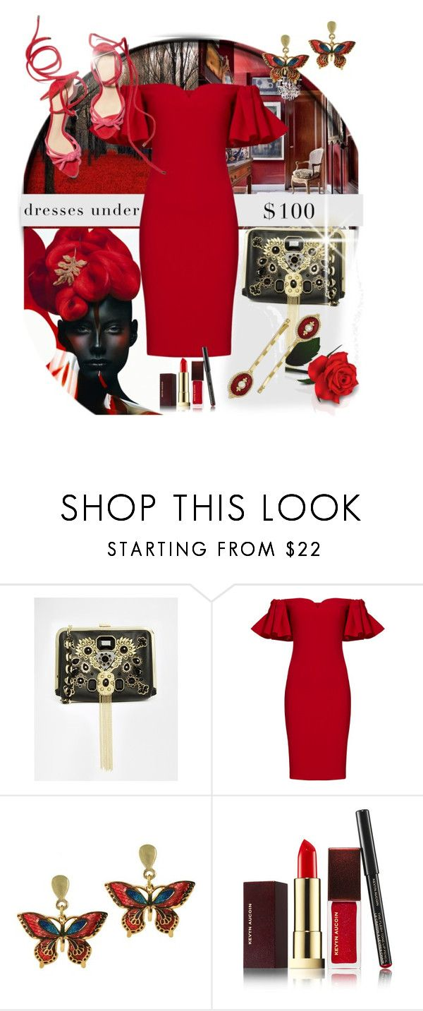"""""""Under $100 outfit!!!"""" by amara-m-hafeez ❤ liked on Polyvore featuring River Island, Badgley Mischka, Kevyn Aucoin and 1928"""