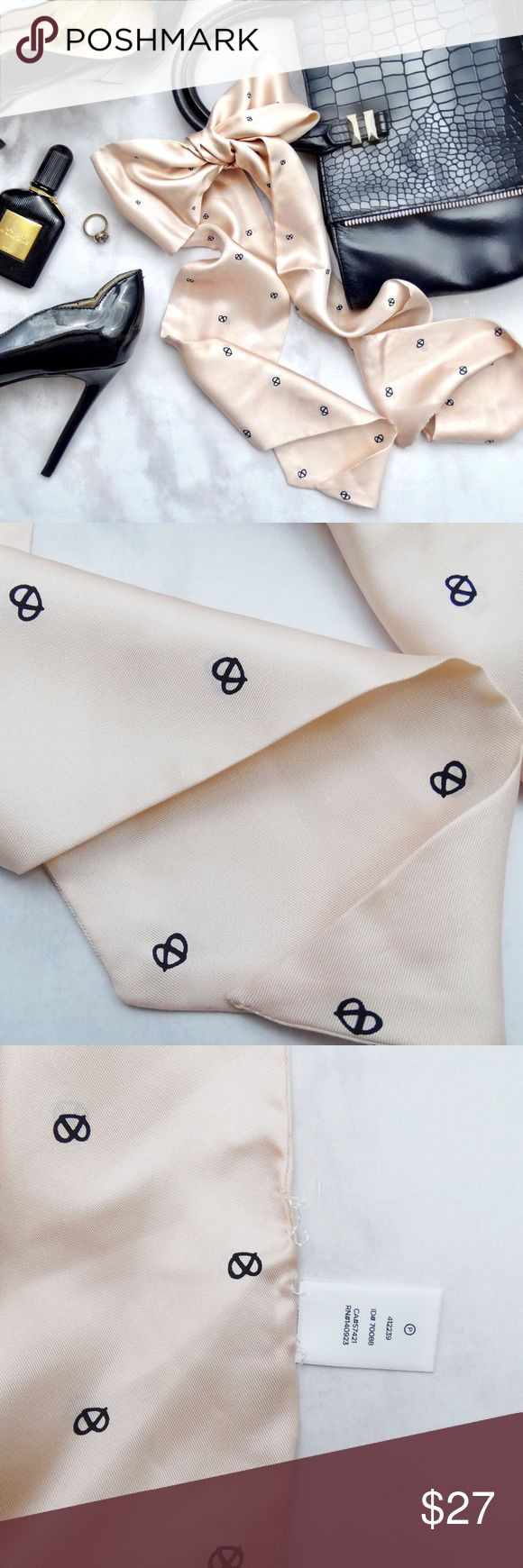 Blush Pretzel Print Silk Scarf Details: * Blush/pale pink with tiny pretzel print * Skinny, long style that can be worn as scarf, headband, bag accessory, etc  * 100% silk * NWOT - has fabric tag attached, brand tag/price tag came off (see photo 4, loose threads where tag came off) 03231706 LOFT Accessories Scarves & Wraps