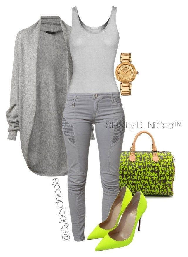 """Untitled #3235"" by stylebydnicole ❤ liked on Polyvore featuring The Row, iHeart, Louis Vuitton, Pierre Balmain, Christian Louboutin and Versace"